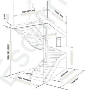 Escarmor - Fiche de cotes escalier double quart tournant