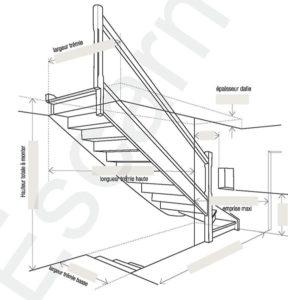 Escarmor - Fiche de cotes escalier quart tournant bas