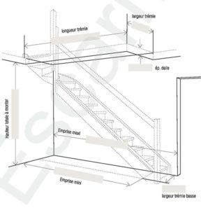 Escarmor - Fiche de cotes Escalier Quart tournant haut