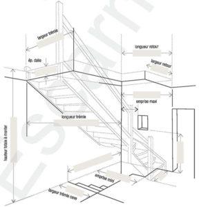 Escarmor - Fiche de cotes escalier quart tournant intermédiaire